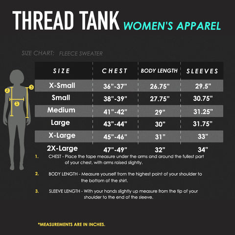 Women's Fleece Sweater Size Chart