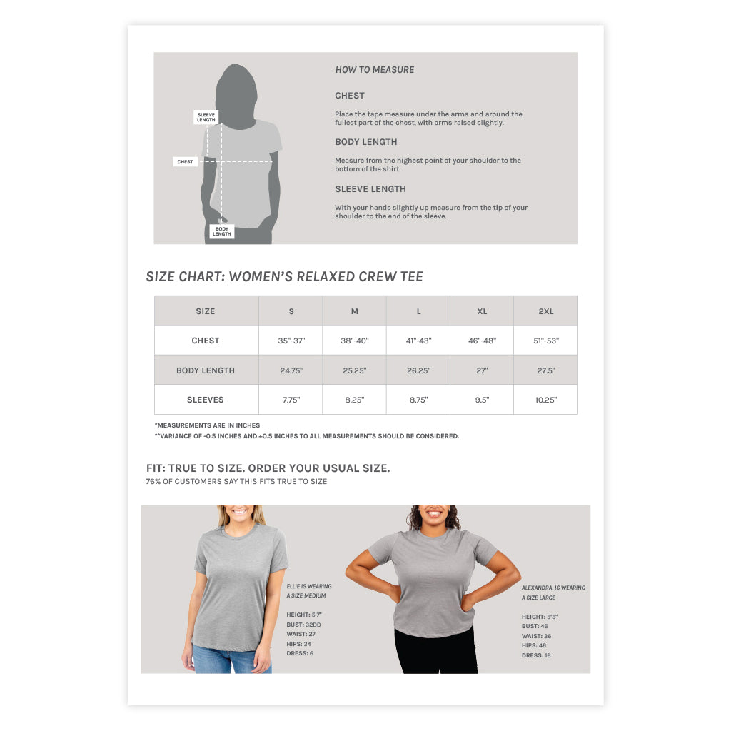 Women's Relaxed Crew Tee Size Chart