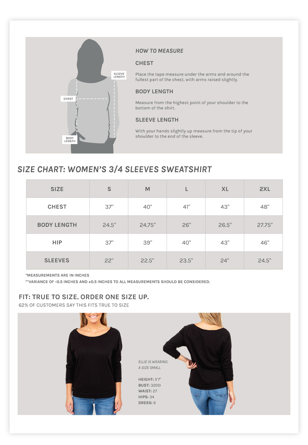 Women's 3/4 Sleeves Slouchy Sweatshirt Size Chart