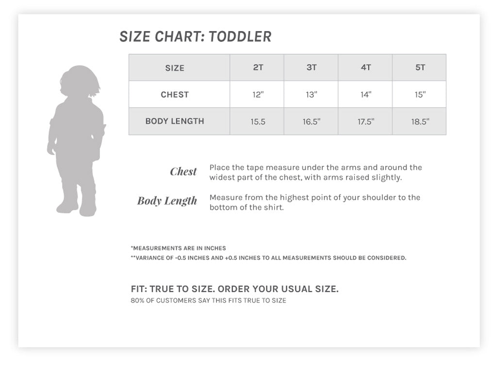 Unisex Toddler Crew Size Chart
