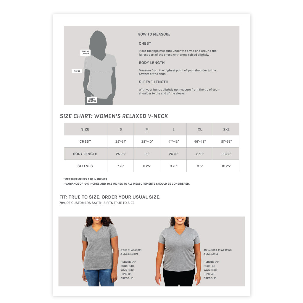 Women's Relaxed V-Neck Tee Size Chart