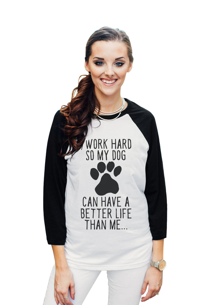 Dog Better Life Women's 3/4 Sleeves Raglan Baseball Tee White Black Model
