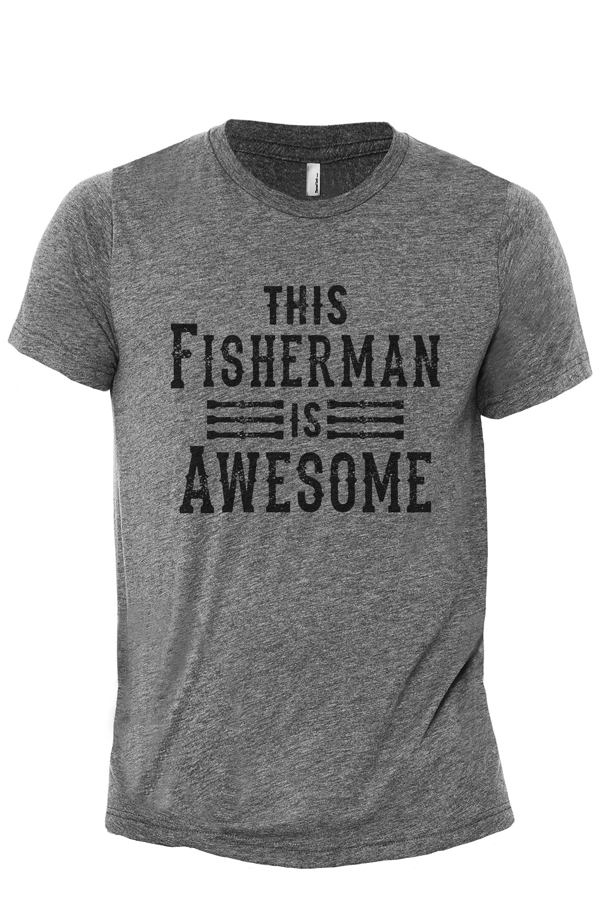 This Fisherman Is Awesome Heather Grey Printed Graphic Men's Crew T-Shirt Tee