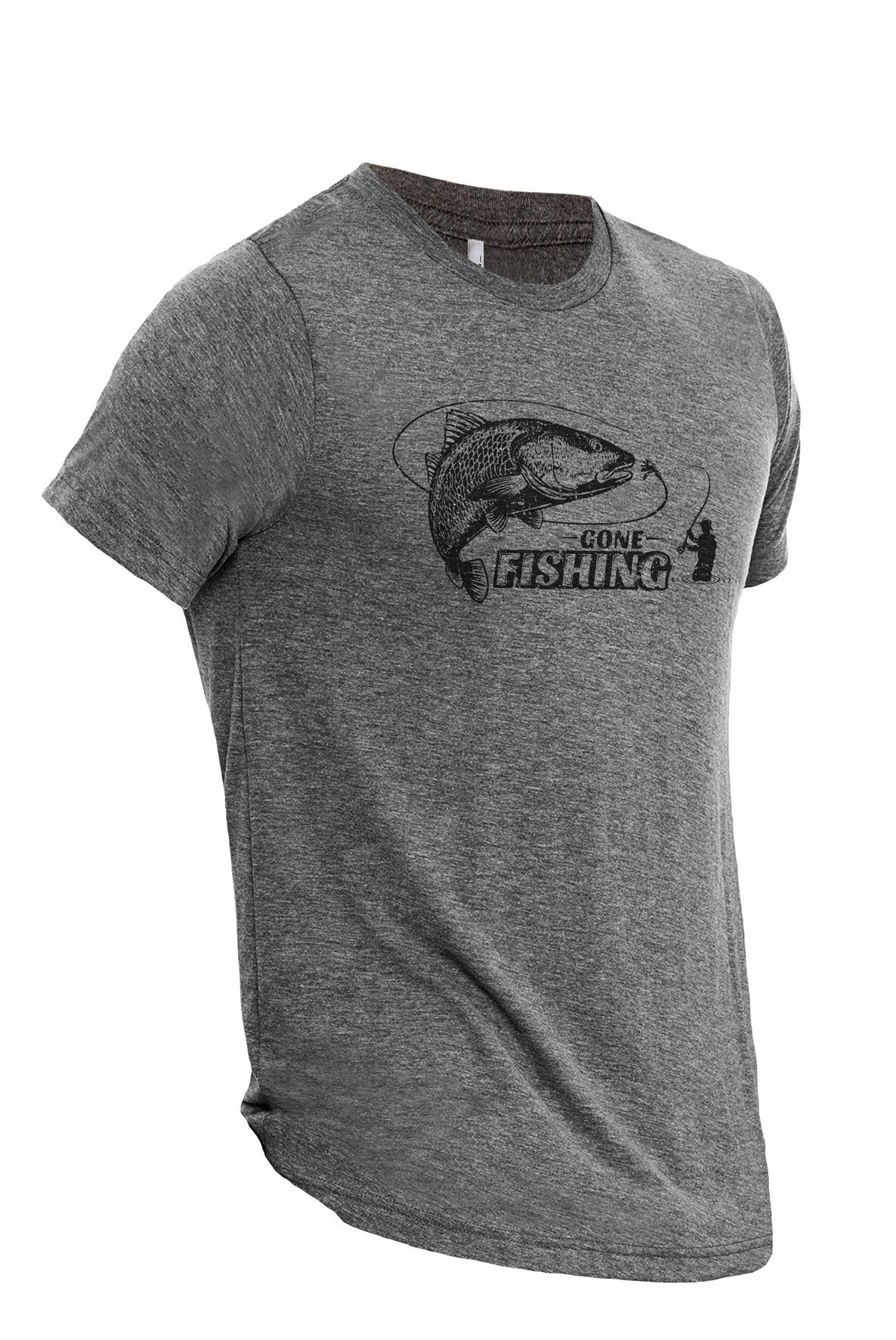 Gone Fishing Heather Grey Printed Graphic Men's Crew T-Shirt Tee