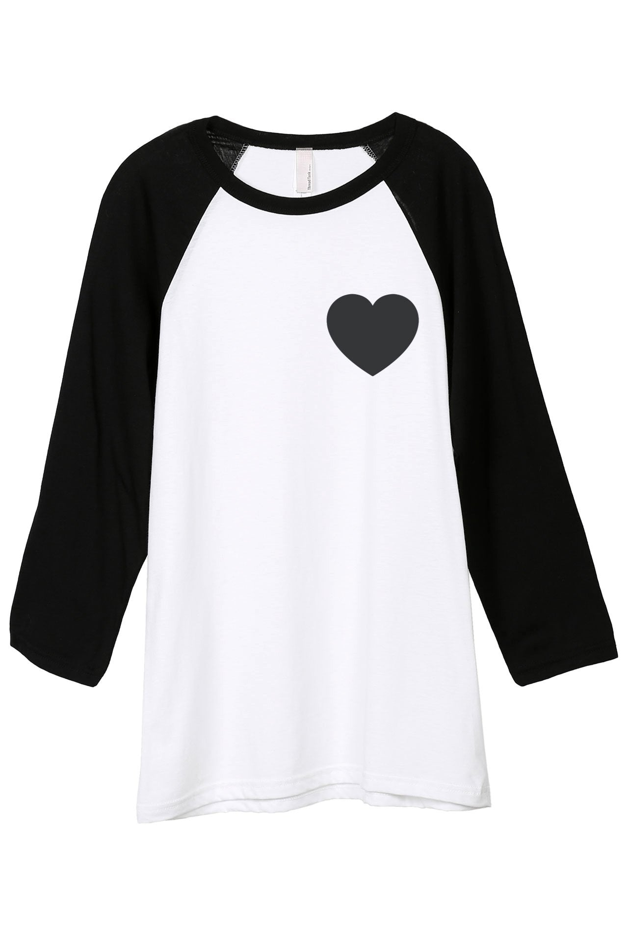 Small Heart Women White Black 3/4 Sleeves Raglan Baseball Tee Top