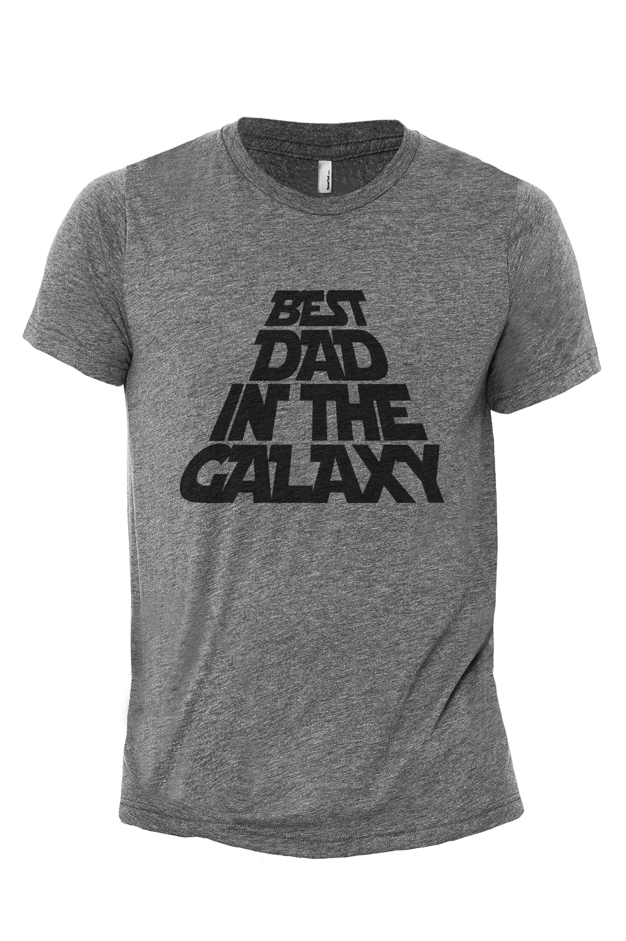 The Best Dad in the Galaxy Heather Grey Printed Graphic Men's Crew T-Shirt Tee