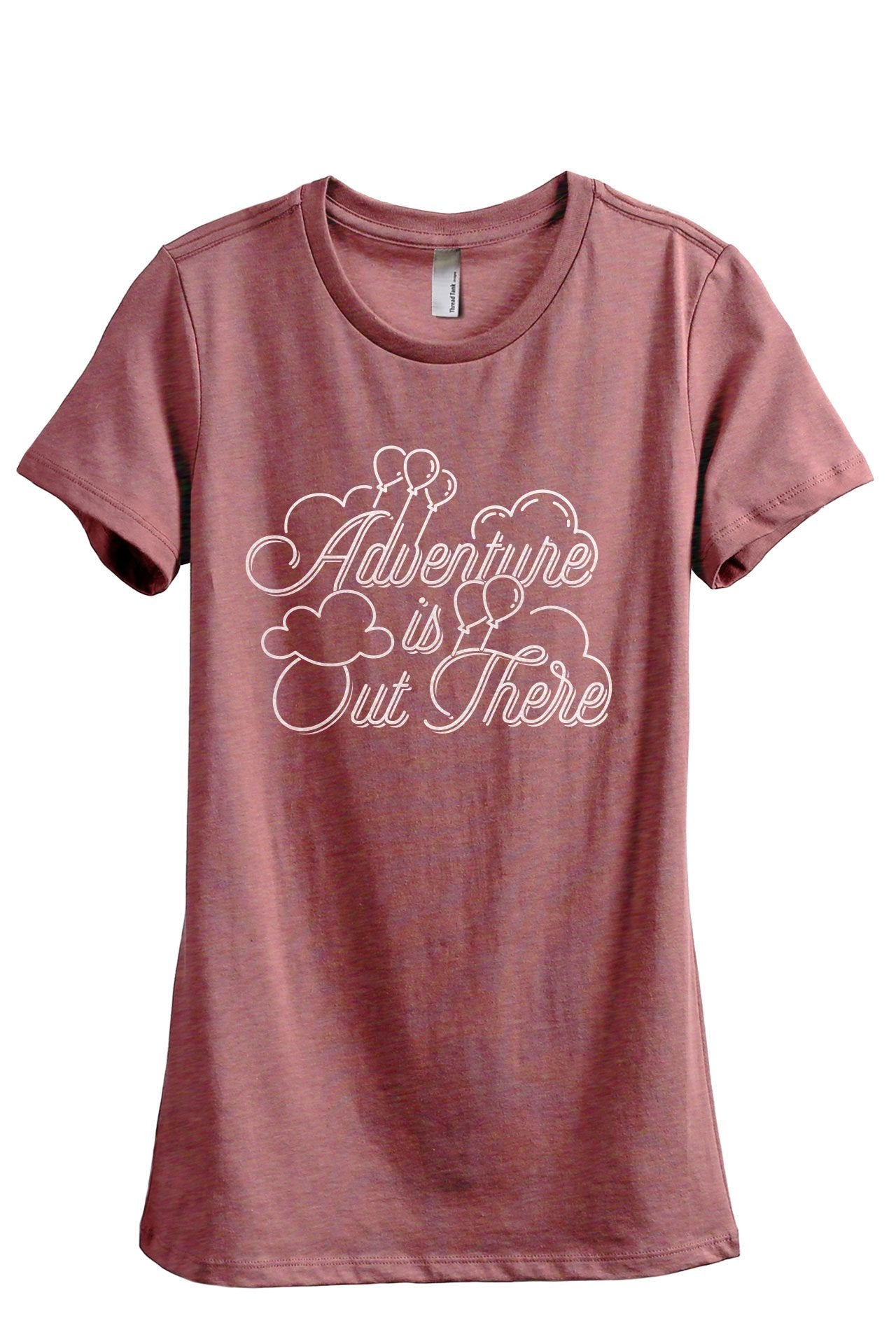 Adventure Is Out There Up Women's Relaxed Crewneck T-Shirt Top Tee Heather Rouge