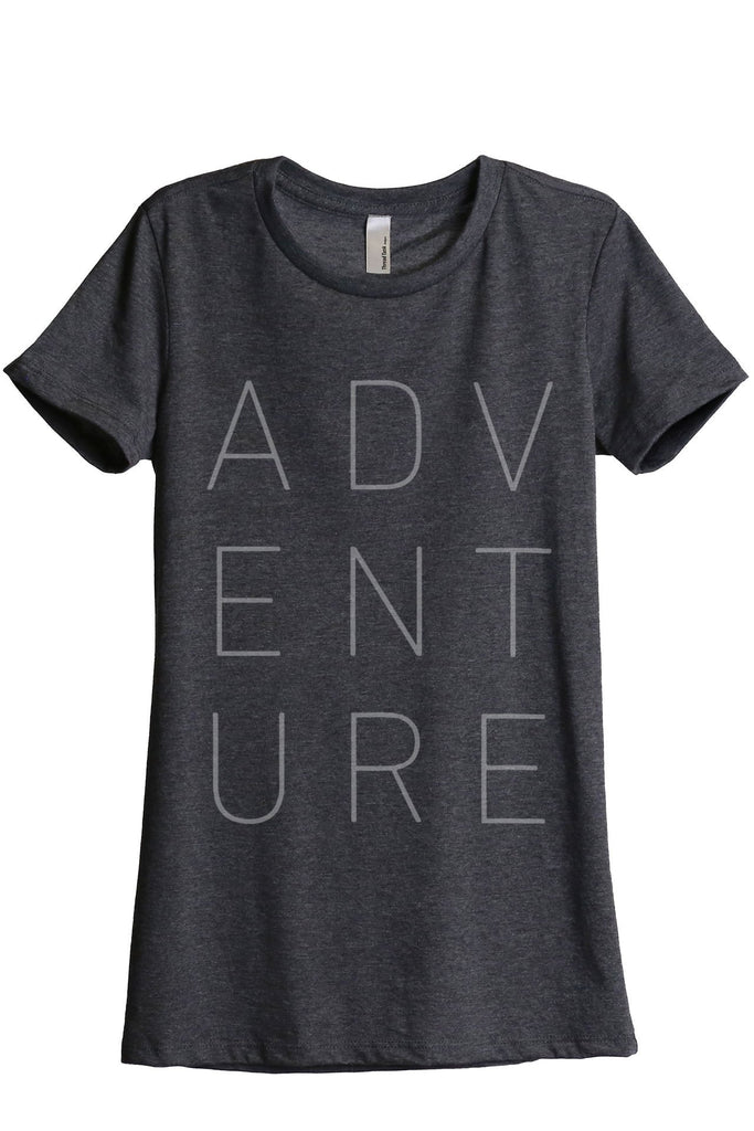 ADVENTURE Women Charcoal Grey Relaxed Crew T-Shirt Tee Top