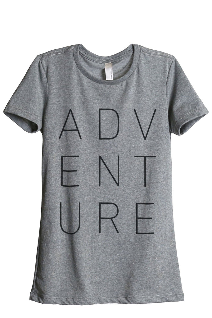 ADVENTURE Women Heather Grey Relaxed Crew T-Shirt Tee Top