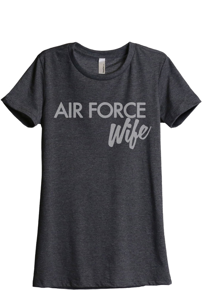 Air Force Wife Women's Relaxed Crewneck T-Shirt Top Tee Charcoal Grey