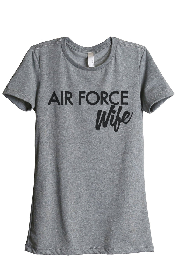 Air Force Wife Women's Relaxed Crewneck T-Shirt Top Tee Heather Grey
