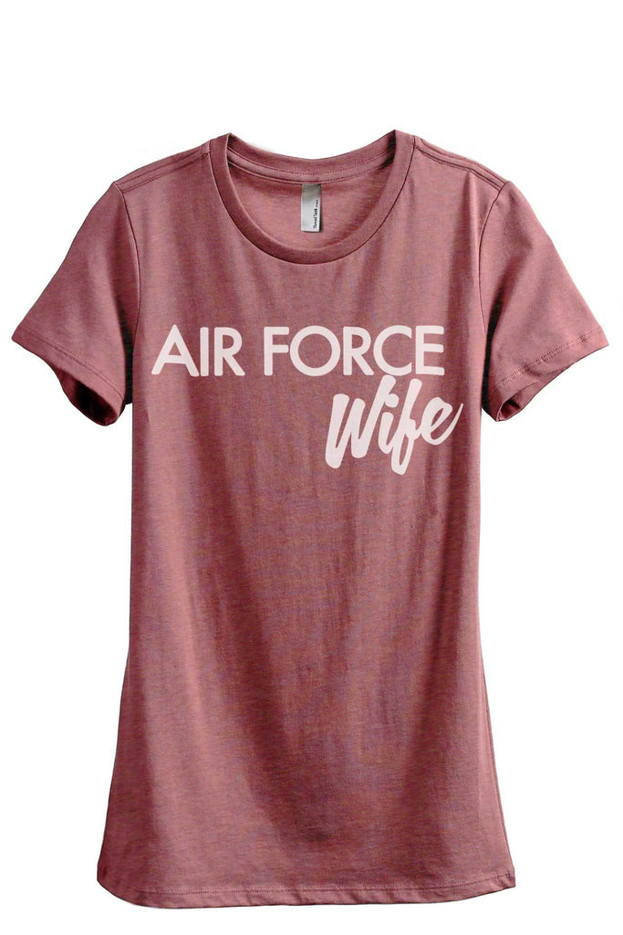 Air Force Wife Women's Relaxed Crewneck T-Shirt Top Tee Heather Rouge