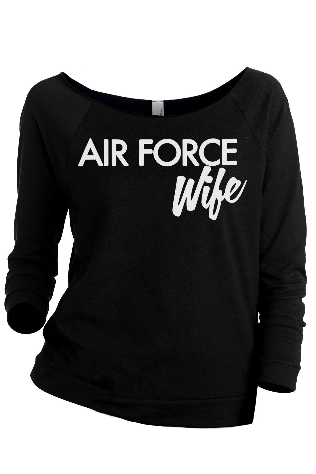 Air Force Wife Women's Graphic Printed Lightweight Slouchy 3/4 Sleeves Sweatshirt Sport Grey