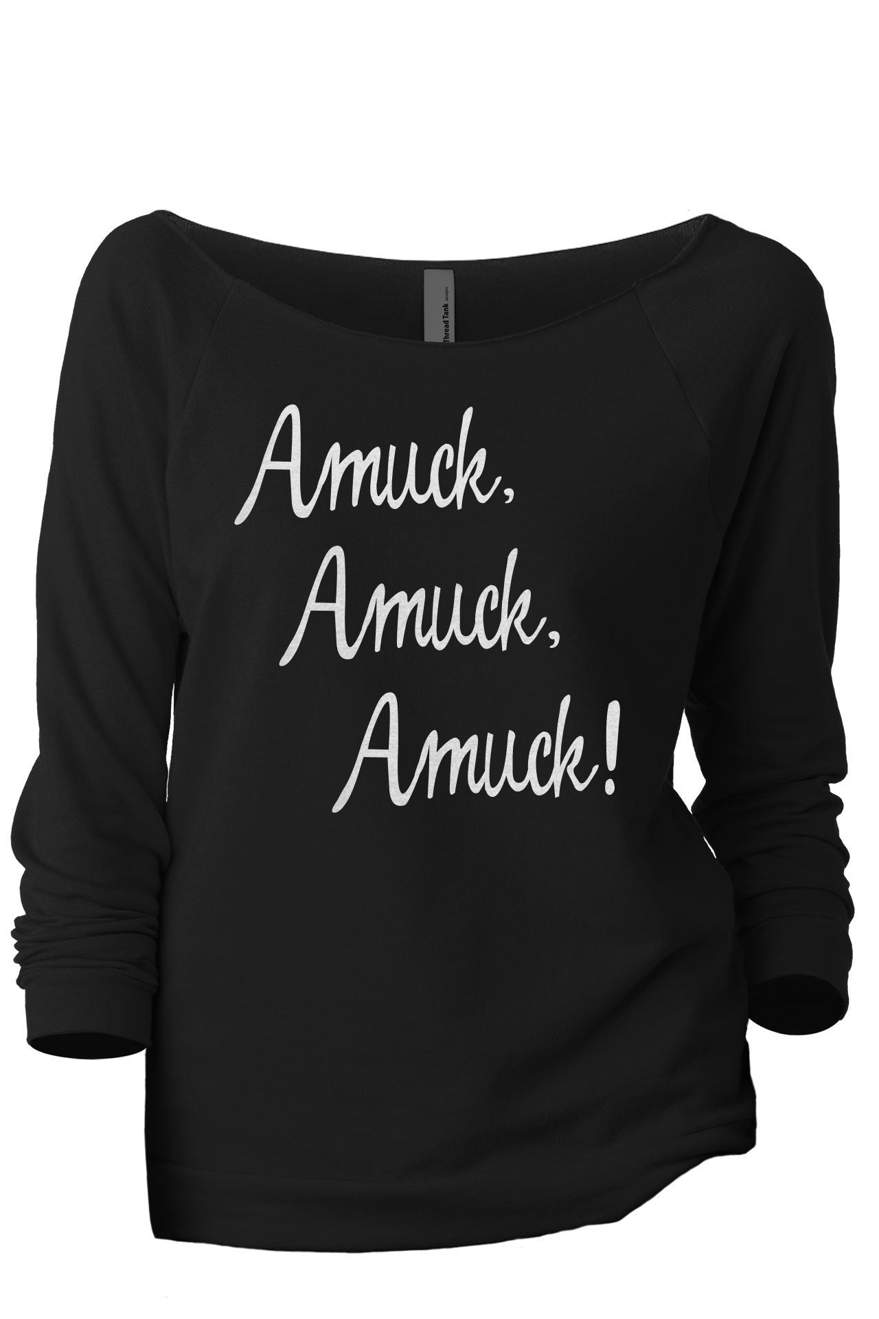 Amuck Amuck Women's Graphic Printed Lightweight Slouchy 3/4 Sleeves Sweatshirt Black