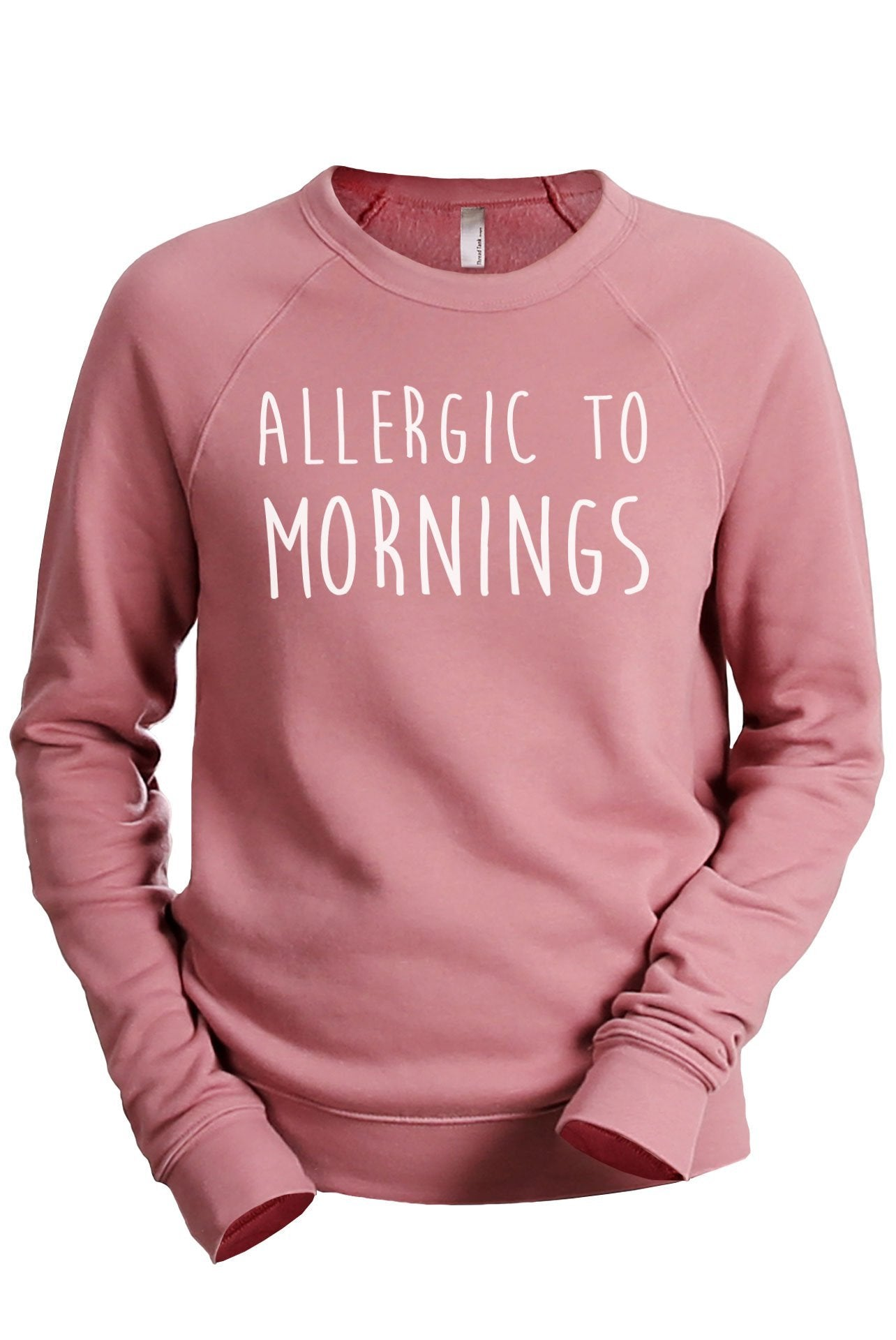 Allergic To Mornings Women's Cozy Fleece Longsleeves Sweater Rouge Closeup Details