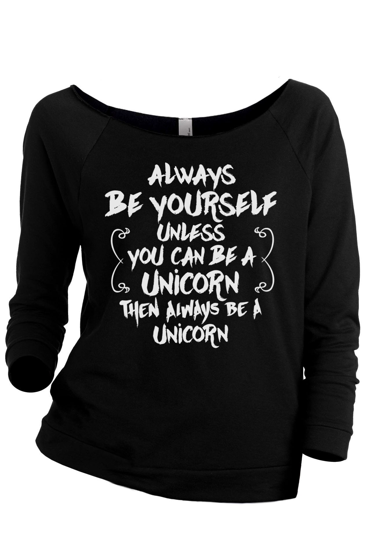 Always Be Yourself, Unicorn Women's Graphic Printed Lightweight Slouchy 3/4 Sleeves Sweatshirt Sport Grey