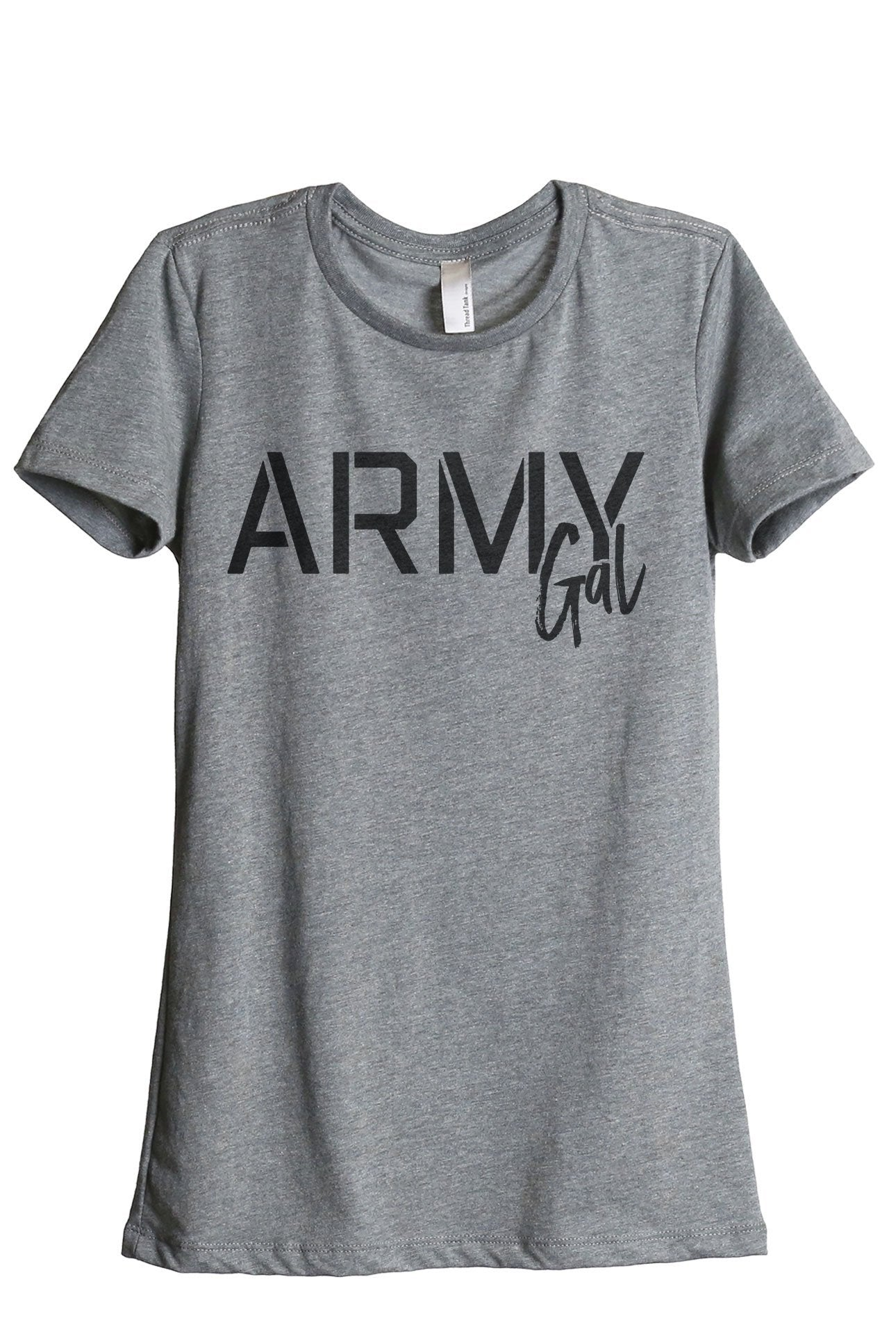 Army Gal Women's Relaxed Crewneck T-Shirt Top Tee Heather Grey