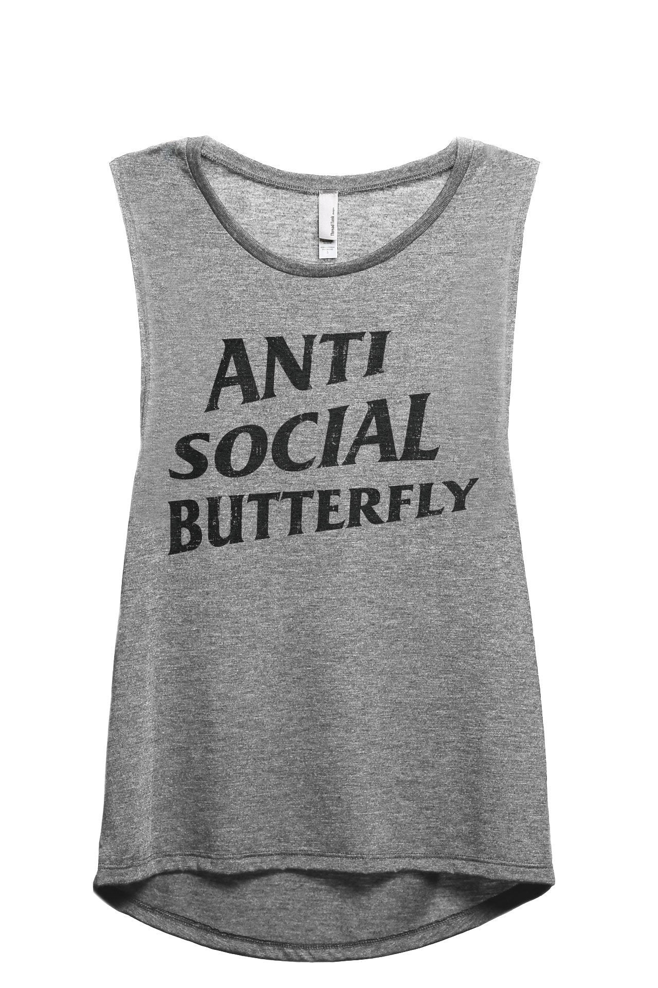 Anti Social Butterfly Women's Relaxed Muscle Tank Tee Heather Grey