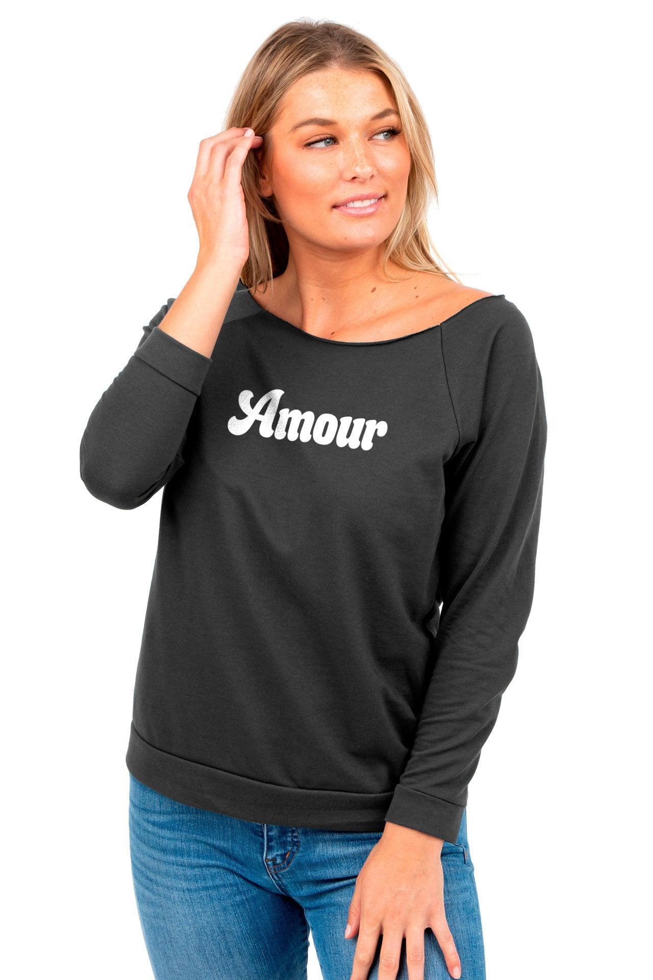 Amour Women's Graphic Printed Lightweight Slouchy 3/4 Sleeves Sweatshirt Sport Gunmetal