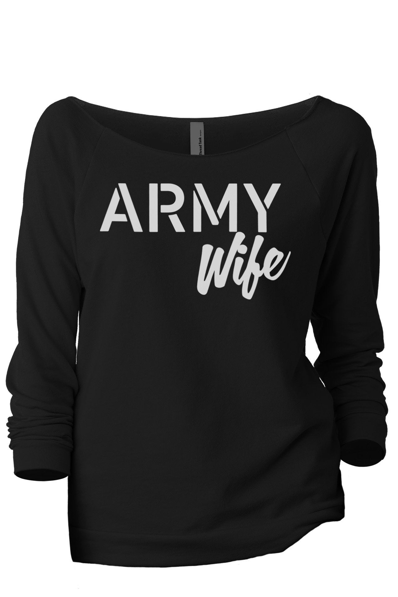 Army Wife Women's Graphic Printed Lightweight Slouchy 3/4 Sleeves Sweatshirt Sport Grey