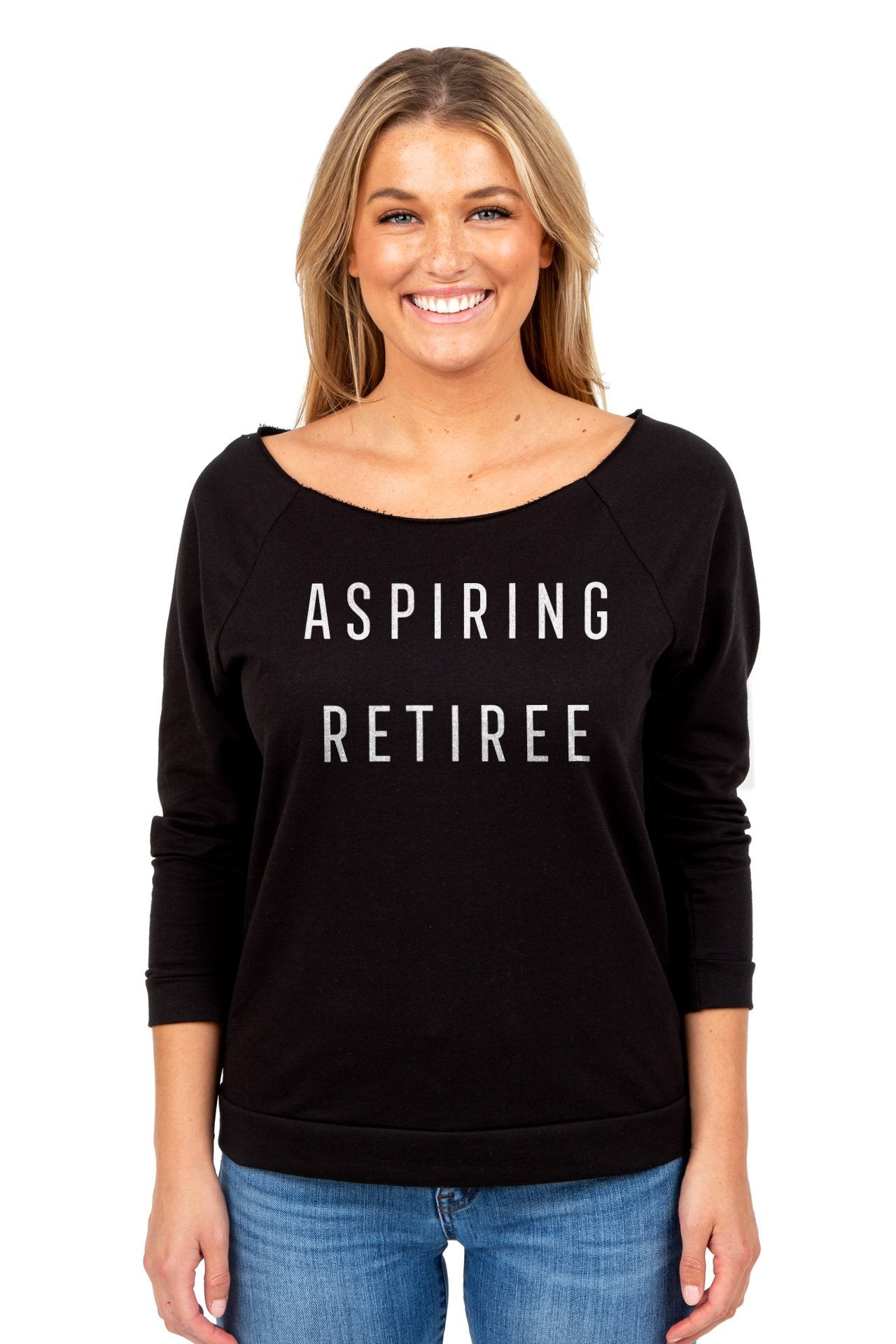 Aspiring Retiree Women's Graphic Printed Lightweight Slouchy 3/4 Sleeves Sweatshirt Sport Black