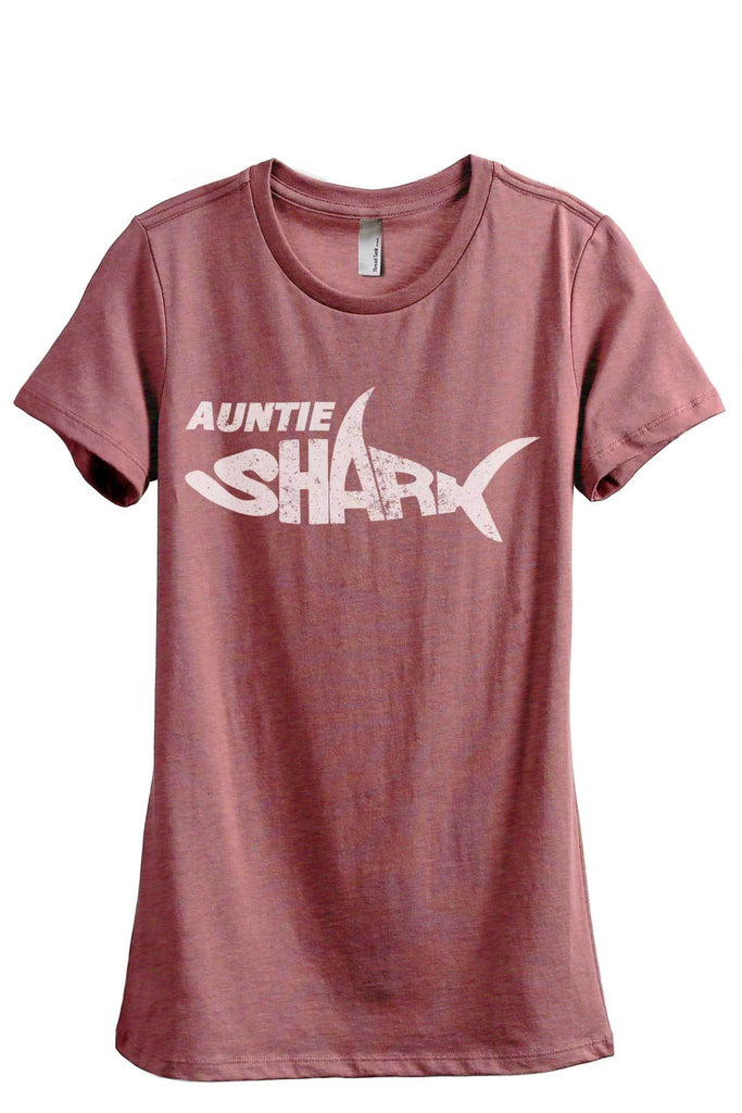 Auntie Shark Women's Relaxed Crewneck T-Shirt Top Tee Heather Rouge