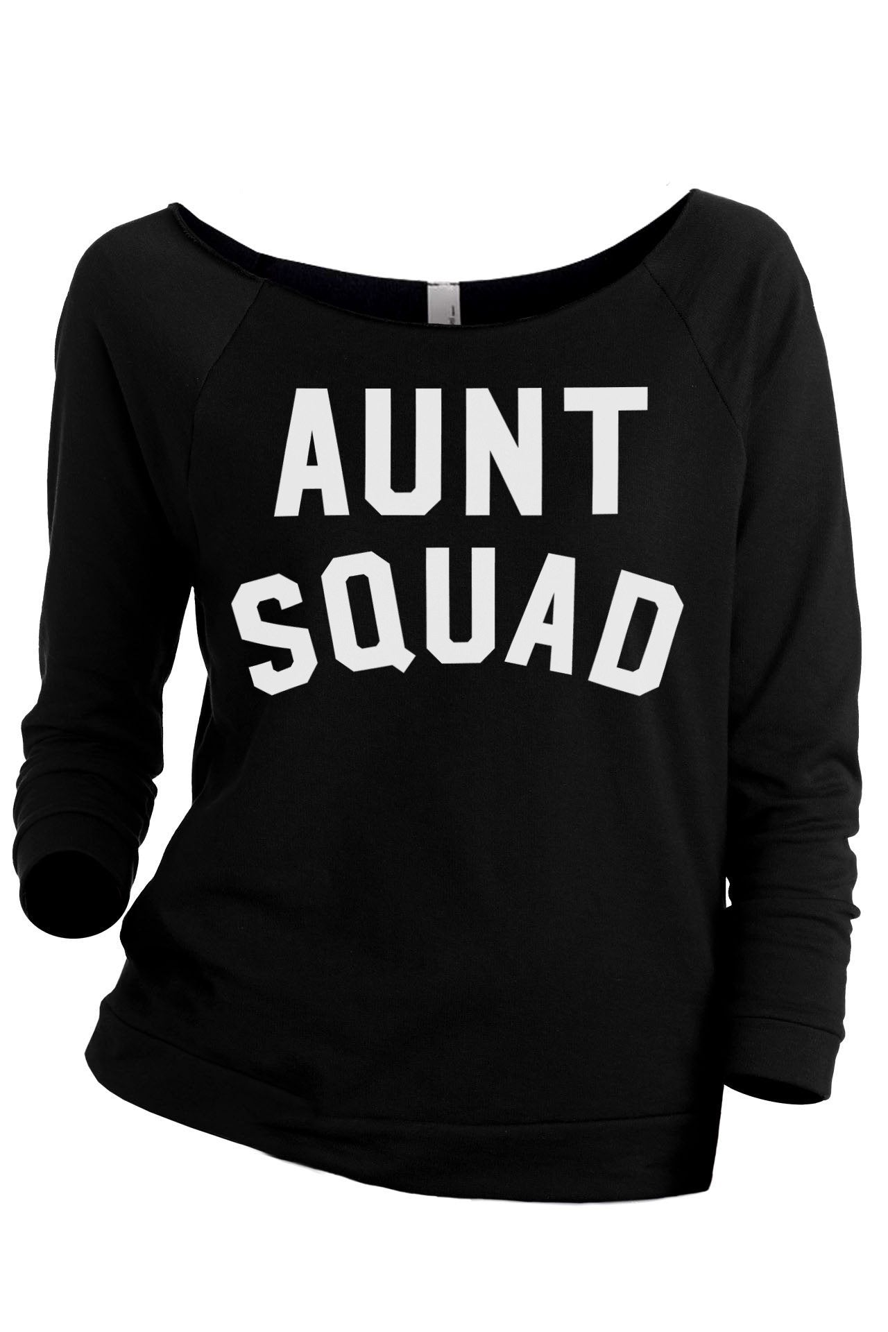 Aunt Squad Women's Graphic Printed Lightweight Slouchy 3/4 Sleeves Sweatshirt Sport Grey