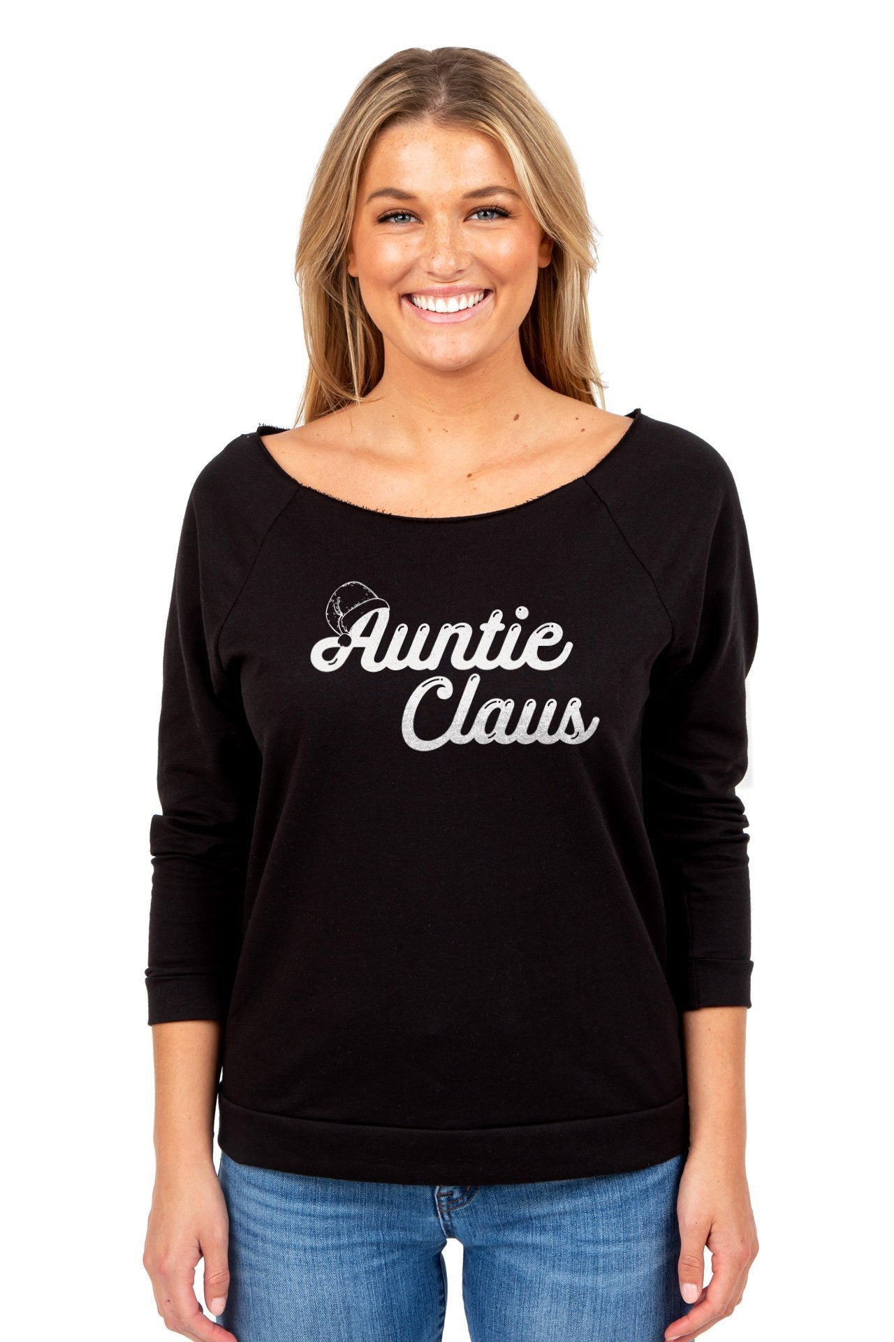 Auntie Claus Women's Graphic Printed Lightweight Slouchy 3/4 Sleeves Sweatshirt Sport Black