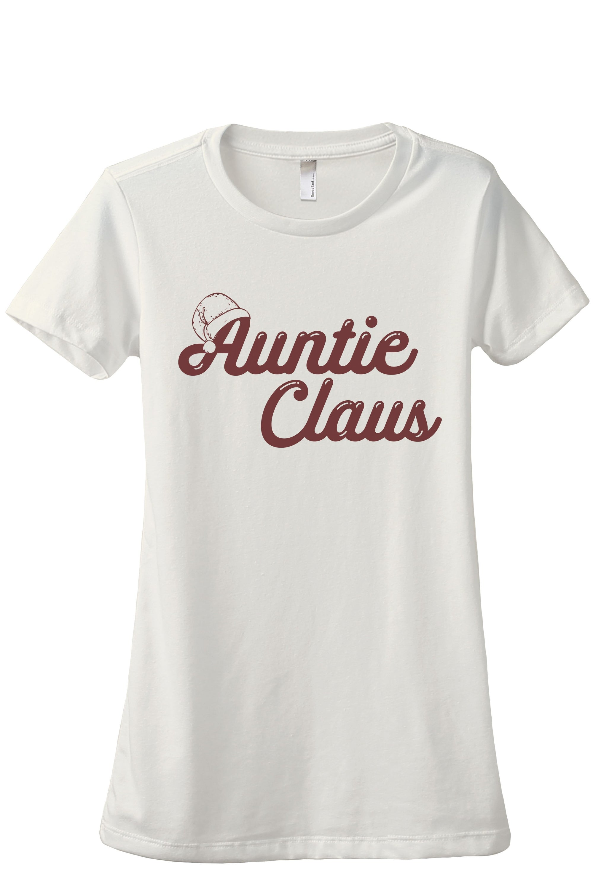 Auntie Claus Women's Relaxed Crewneck T-Shirt Top Tee Vintage White