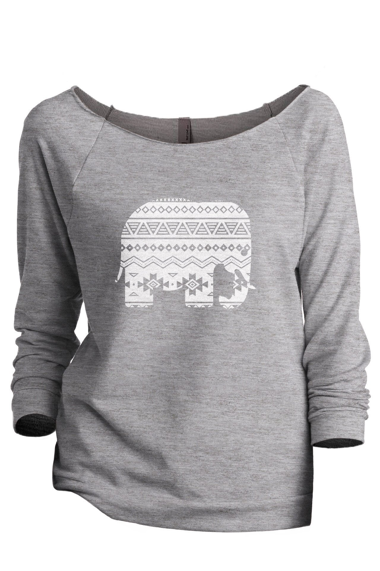 Aztec Elephant Women's Graphic Printed Lightweight Slouchy 3/4 Sleeves Sweatshirt Sport Grey