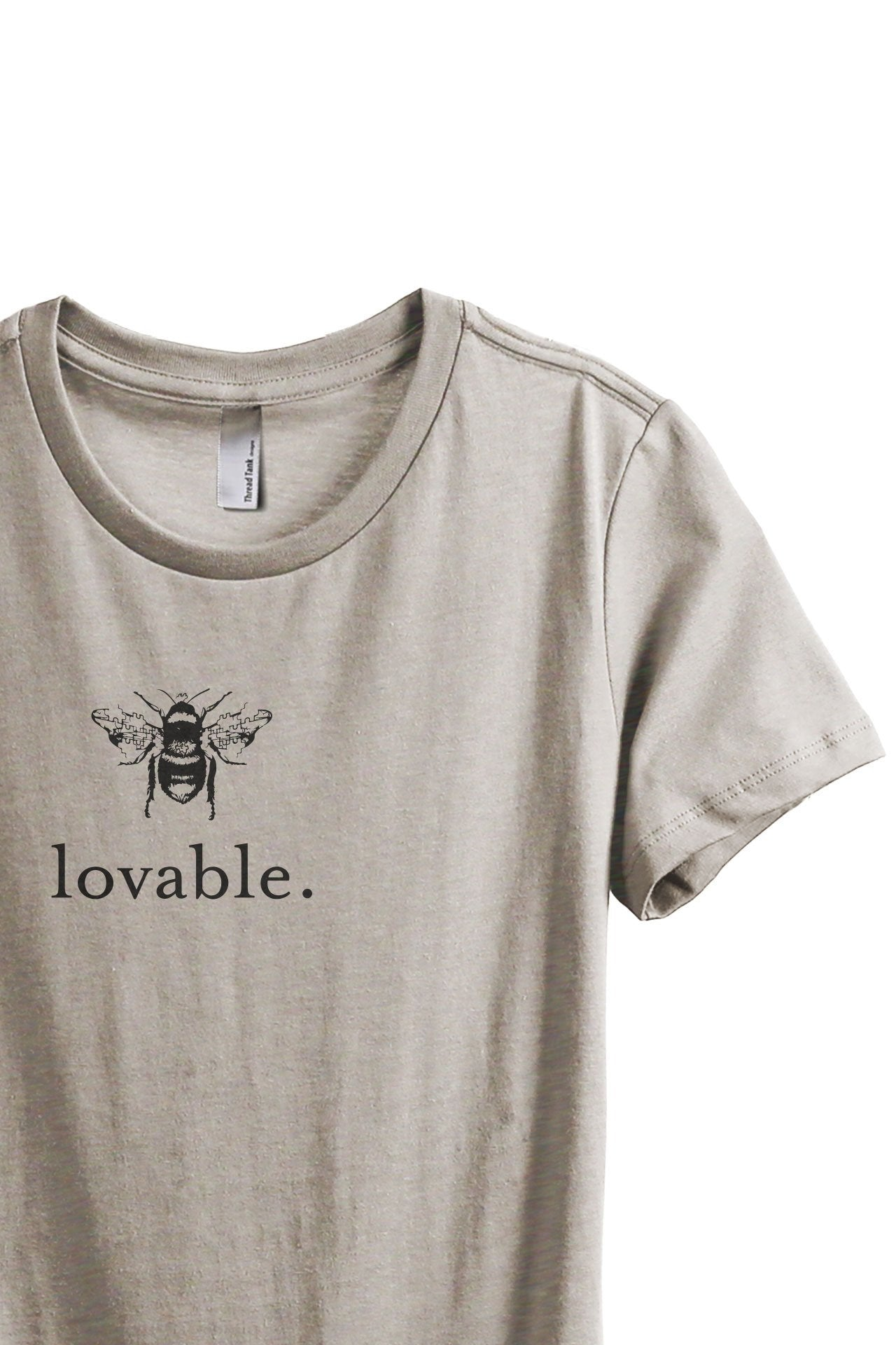 Bee Lovable Women's Relaxed Crewneck T-Shirt Top Tee Charcoal Grey