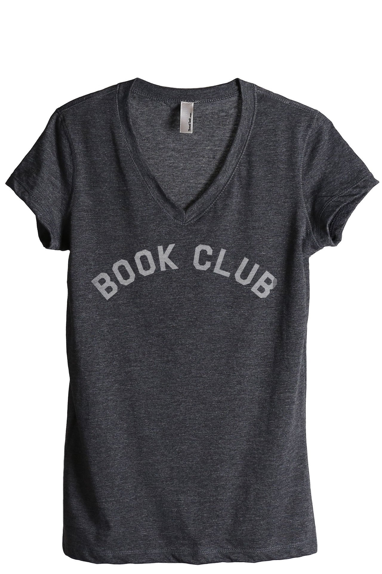 Book Club Women's Relaxed Crewneck T-Shirt Top Tee Charcoal Grey