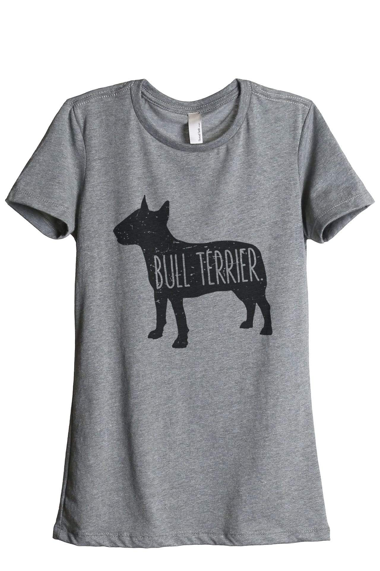 Bull Terrier Dog Graphic Women's Heather Grey Relaxed Crew T-Shirt Tee Top