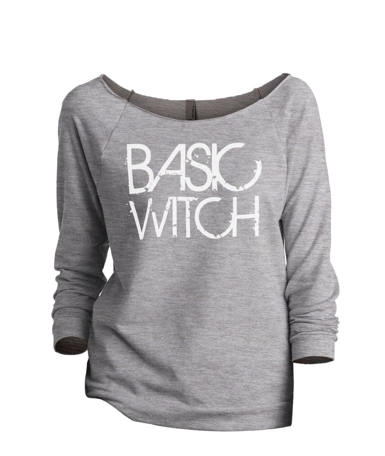 Basic Witch Women's Graphic Printed Lightweight Slouchy 3/4 Sleeves Sweatshirt Sport Grey