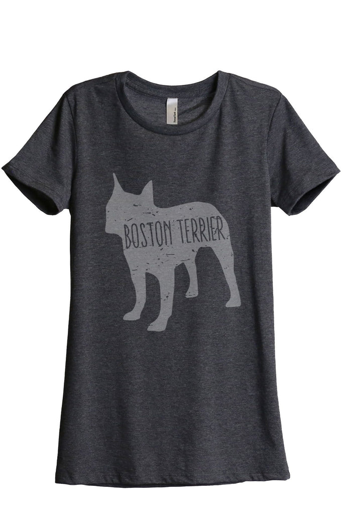 Boston Terrier Dog Silhouette Women Charcoal Grey Relaxed Crew T-Shirt Tee Top