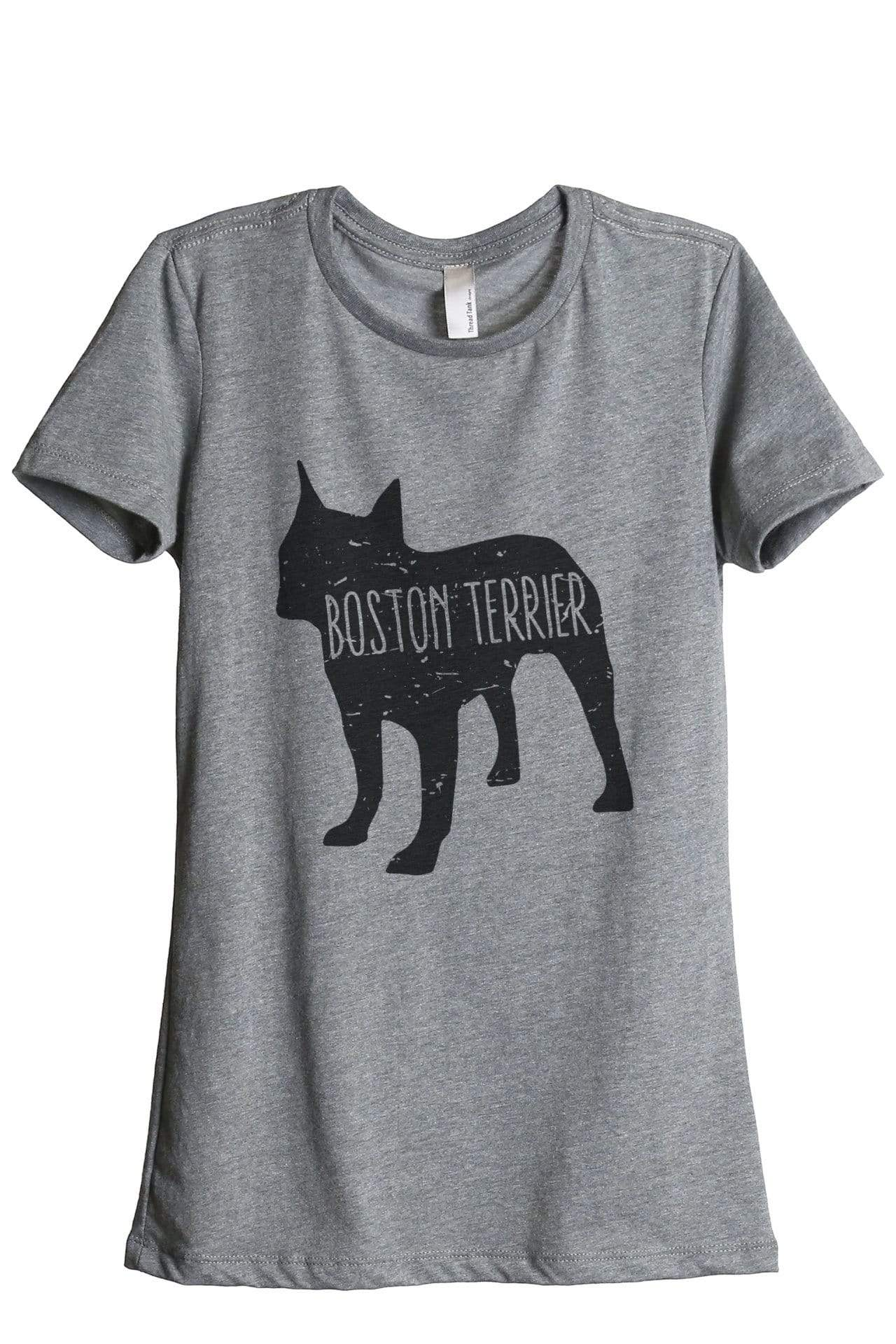 Boston Terrier Dog Silhouette Graphic Women's Heather Grey Relaxed Crew T-Shirt Tee Top