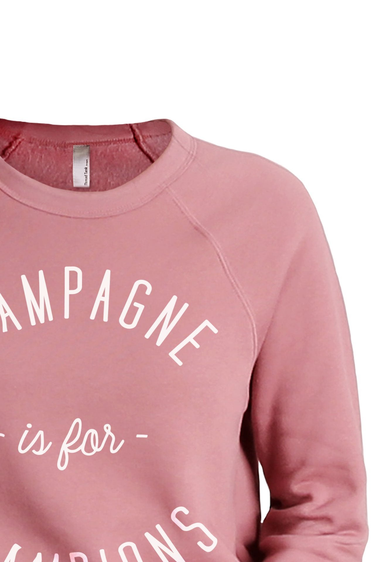 Champagne Is For Champions Women's Cozy Fleece Longsleeves Sweater Rouge FRONT