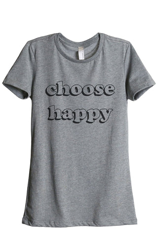 Choose Happy Women's Relaxed Crewneck T-Shirt Top Tee Heather Grey