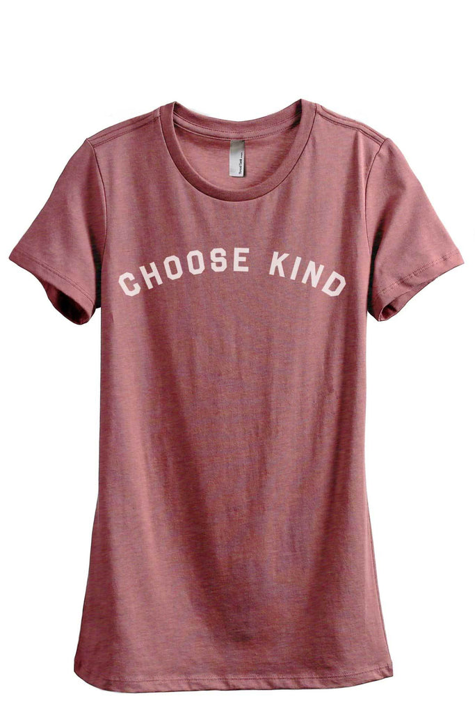 Choose Kind Women Heather Rouge Relaxed Crew T-Shirt Tee Top