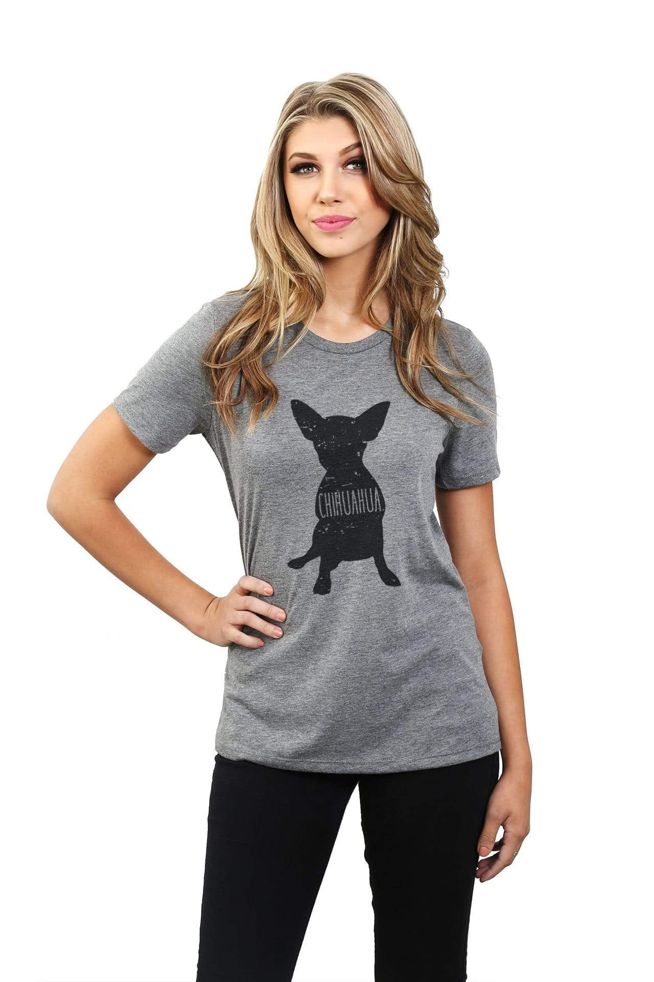 Chihuahua Dog Silhouette Graphic Women's Heather Grey Relaxed Crew T-Shirt Tee Top