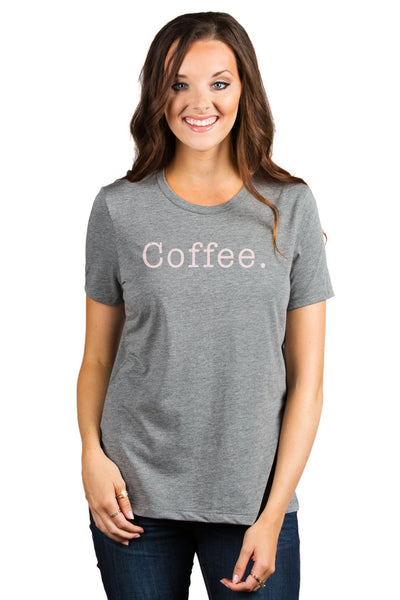 Coffee. Women's Relaxed Crewneck T-Shirt Top Tee Heather Grey Model Pink Exclusive