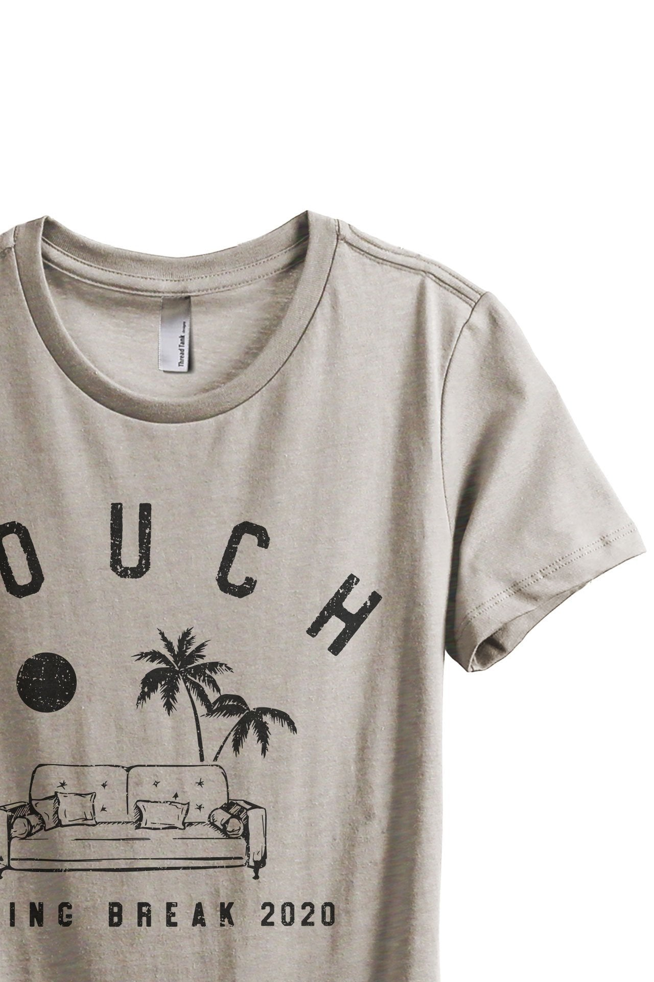 Couch Spring Break Women's Relaxed Crewneck T-Shirt Top Tee Charcoal Grey