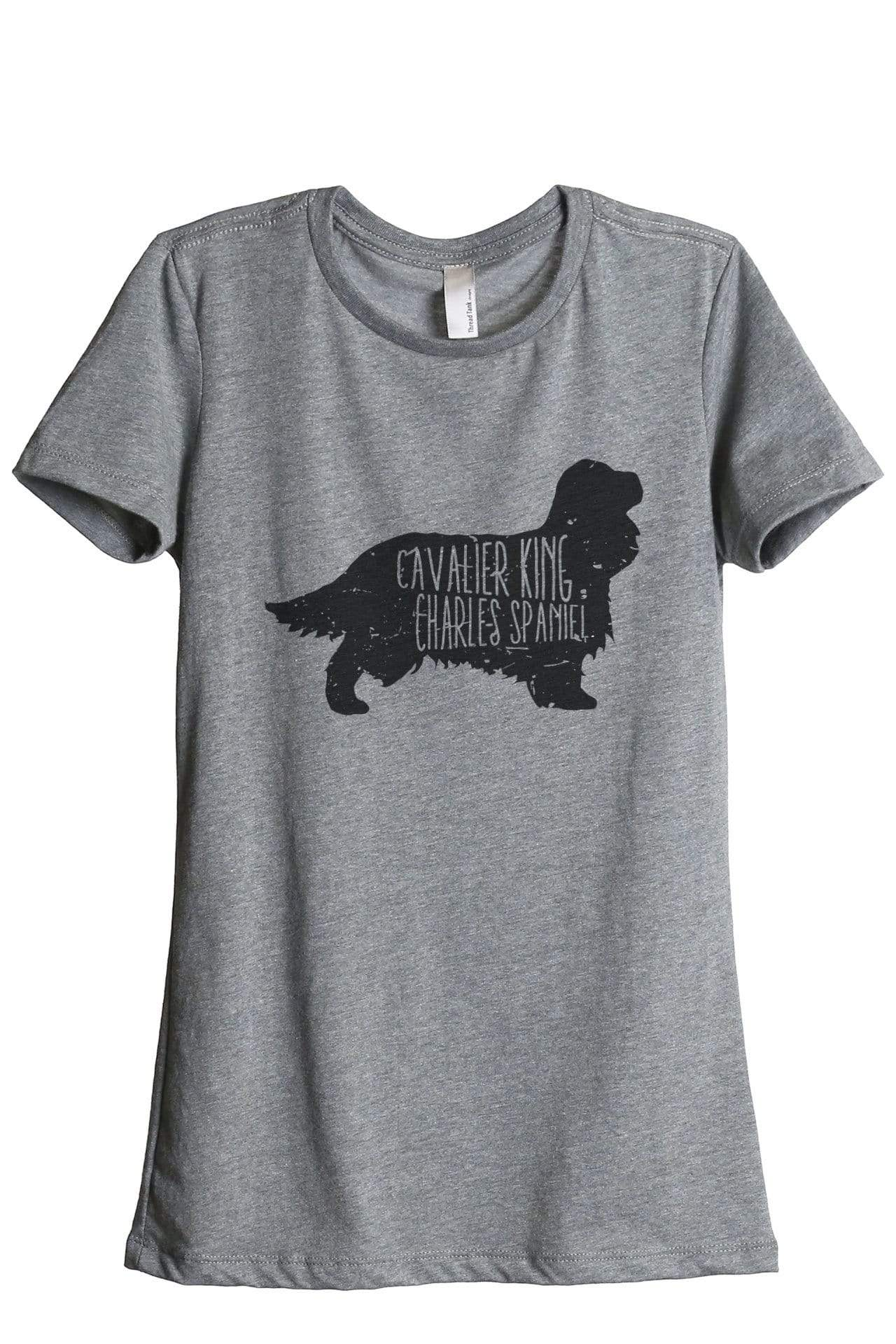 Cavalier King Charles Spaniel Dog Silhouette Graphic Women's Heather Grey Relaxed Crew T-Shirt Tee Top