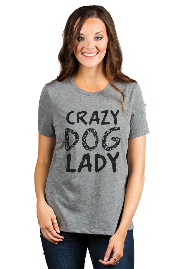 Crazy Dog Lady Women's Relaxed Crewneck T-Shirt Top Tee Heather Grey Model