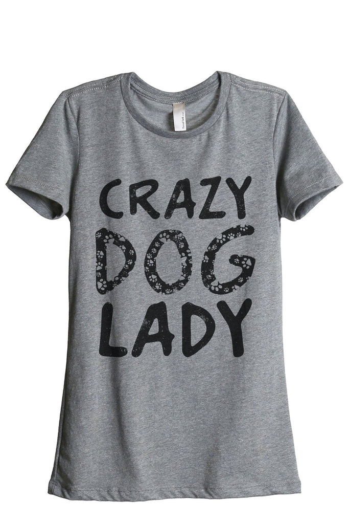 Crazy Dog Lady Women's Relaxed Crewneck T-Shirt Top Tee Heather Grey