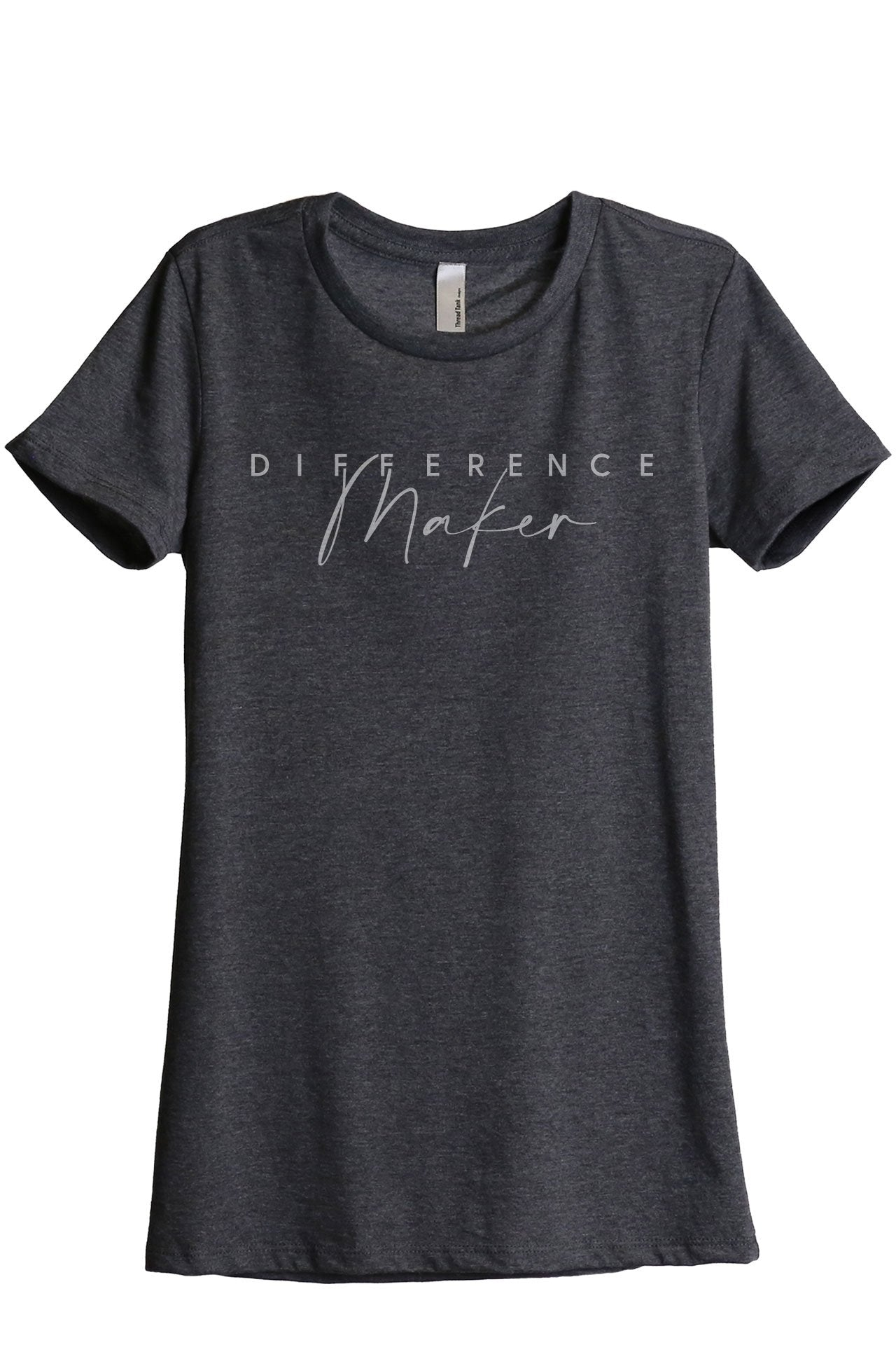 Difference Maker Women's Relaxed Crewneck T-Shirt Top Tee Charcoal Grey