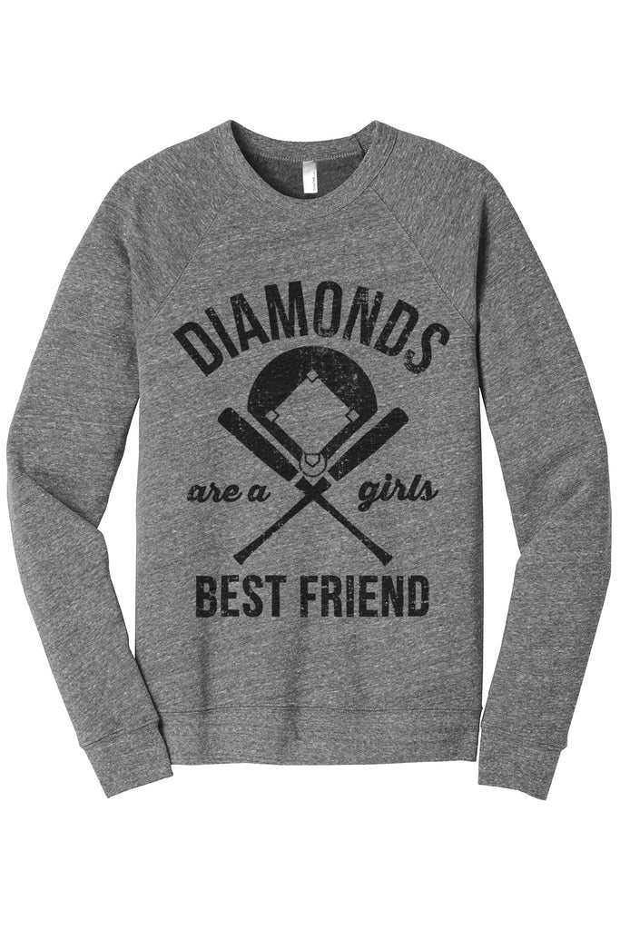 Diamonds Are A Girls Best Friend Women's Cozy Fleece Longsleeves Sweater Heather Grey FRONT