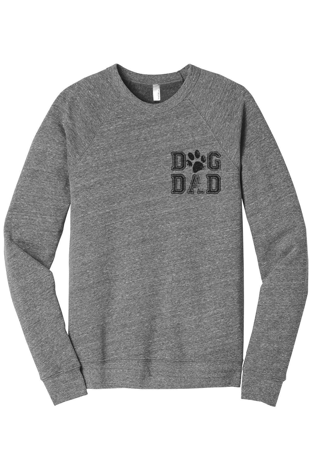 Dog Dad Cozy Unisex Fleece Longsleeves Sweater Heather Grey FRONT