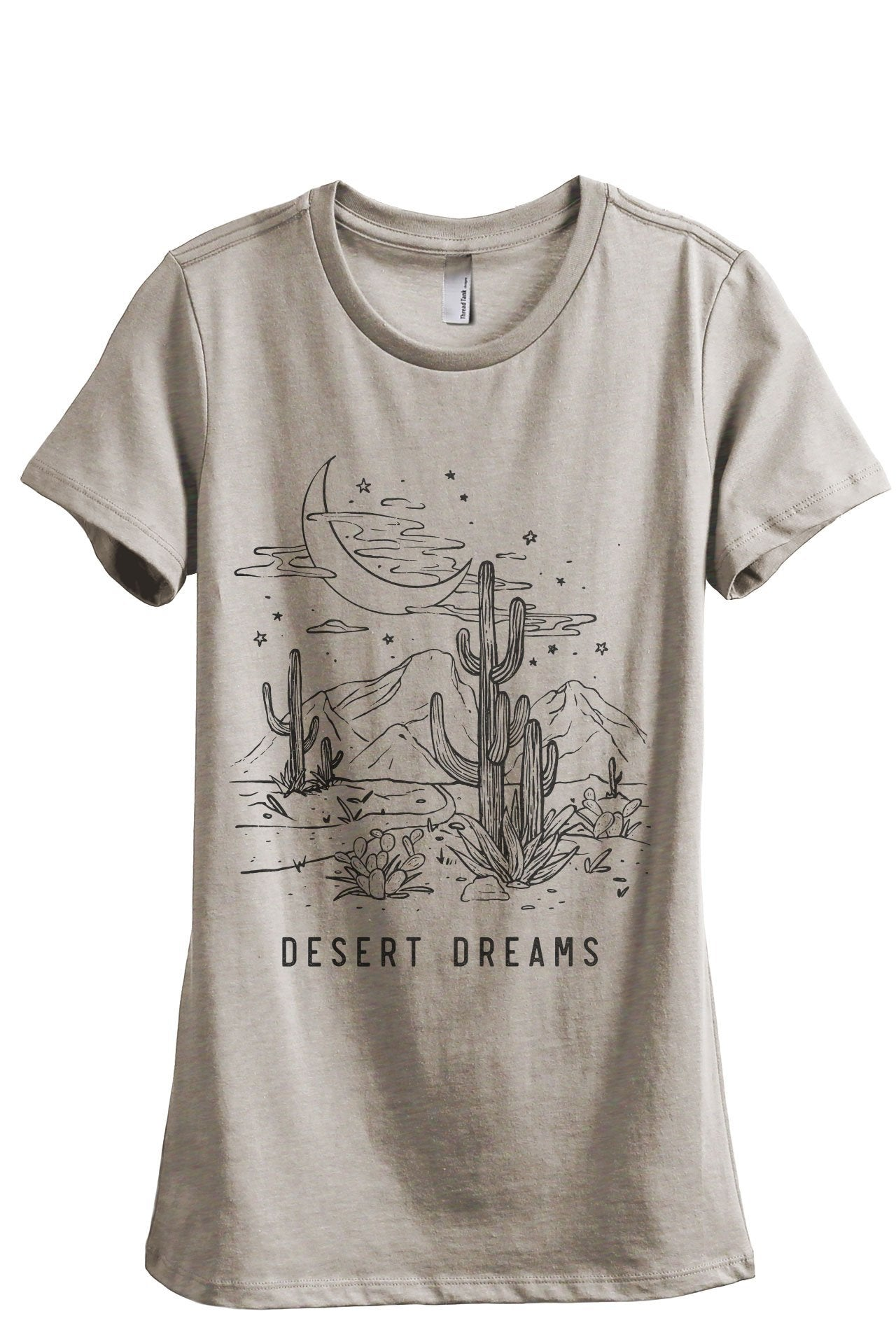 Desert Dreams Women's Relaxed Crewneck T-Shirt Top Tee Charcoal Grey