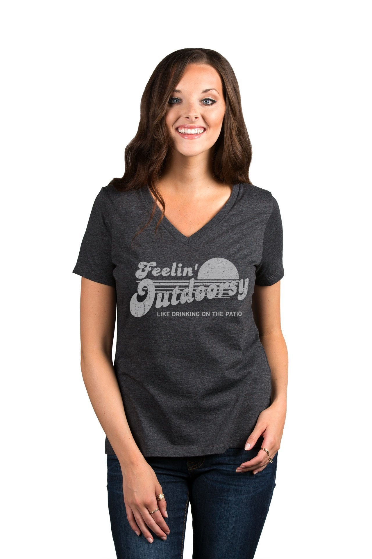 Feelin Outdoorsy Like Drinking On The Patio Women's Relaxed Crewneck T-Shirt Top Tee Charcoal Grey